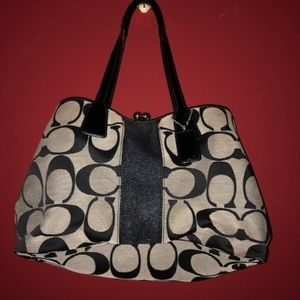 Coach Monogrammed Black and Grey Satchel/Tote